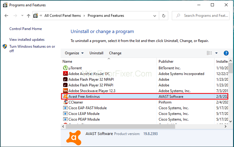 Uninstall or Repair Avast to Fix Avast Service High CPU