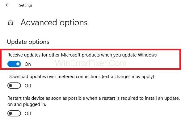 Receive updates for other Microsoft products when you update Windows