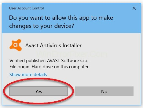 confirm the Avast uninstallation