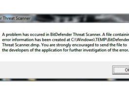 BitDefender Threat Scanner.DMP Error