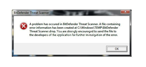 BitDefender Threat Scanner.DMP Error