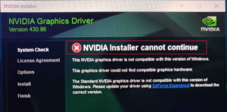 NVIDIA Installer Cannot Continue Error on Windows 10-8-7