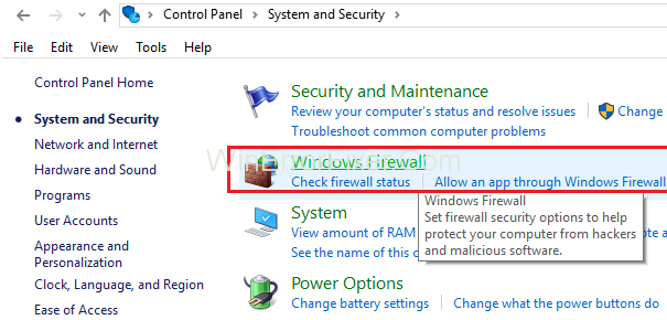 click on Windows Firewall
