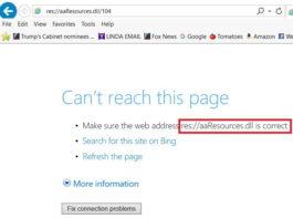 res://aaResources.dll/104 Error on Internet Explorer