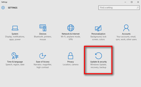 Updates and Security Windows 10