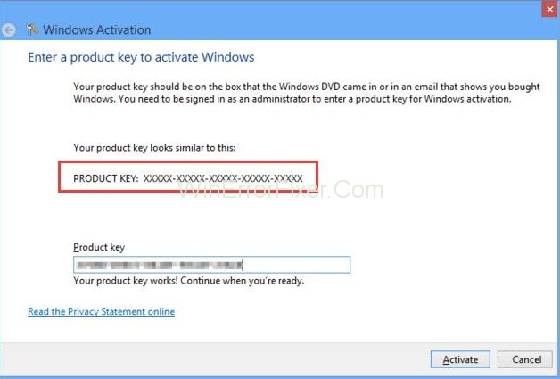 Enter the Windows 8.1 product key