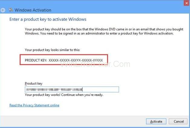 Enter the Windows 8.1 product key