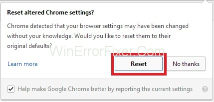 Reset Chrome Browser to Fix err_cache_miss Error