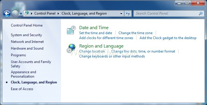 Clock, Language, and Region in Windows 7