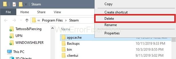 Delete the appcache folder