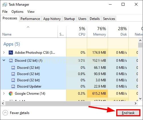 End Discord Tasks to Fix Discord Errors