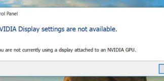 NVIDIA Display Settings are Not Available Error