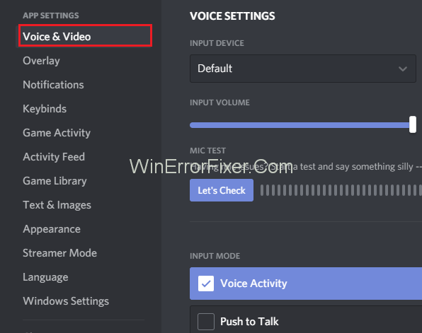 Voice and Video Settings