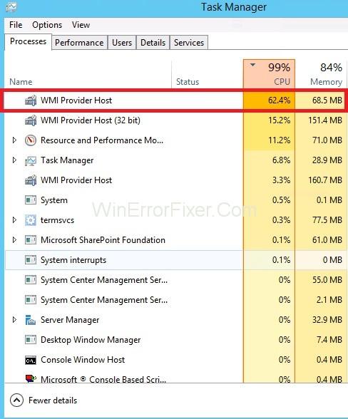 WMI Provider Host High CPU Usage On Windows 10