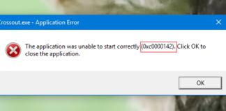 Application Error 0xc0000142 in Windows 10