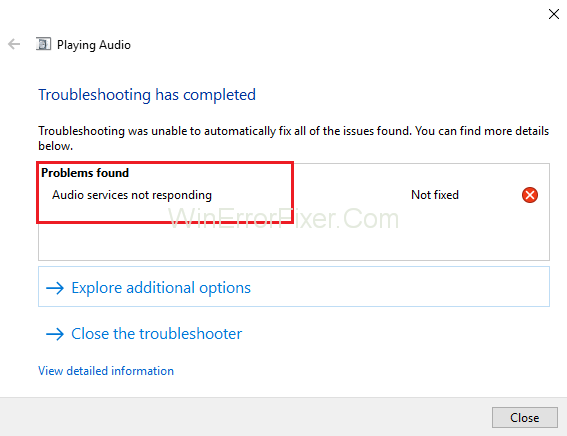 Audio Services Not Responding Error in Windows 10