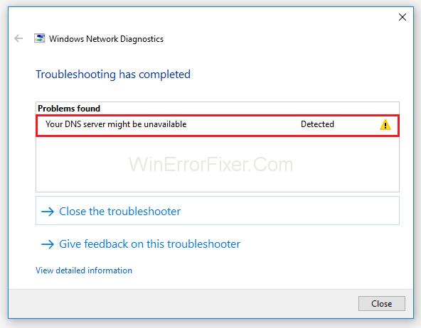 The DNS Server Unavailable Error