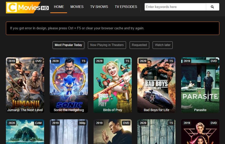 CMoviesHD Alternative to F Movies site