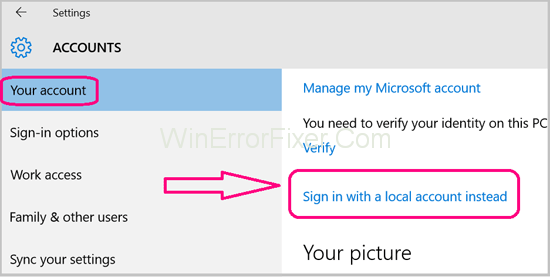 Sign in with local account instead To Fix Service Registration is Missing or Corrupt