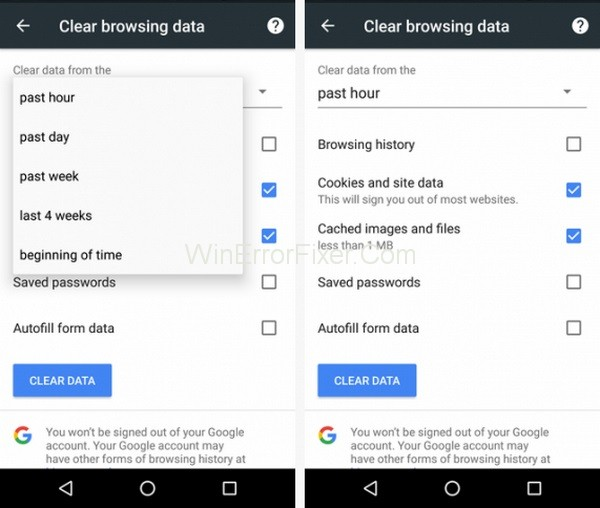 Clear History on Google Chrome using Android