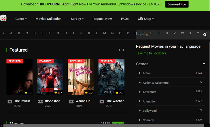 Best Alternatives and Sites Like HDPopcorns to Watch HD Movies and TV Shows