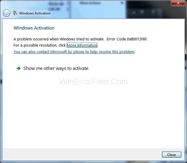 Windows Activation Error 0x80072f8f