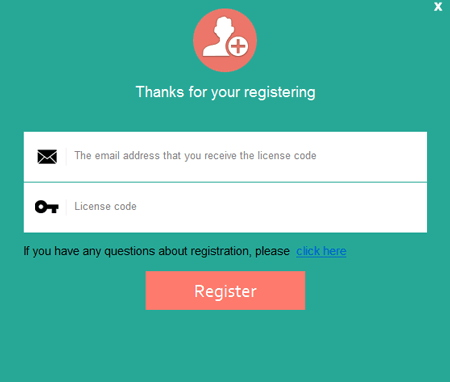 enter the licensed email id and Code