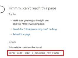 Error Code INET_E_RESOURCE_NOT_FOUND
