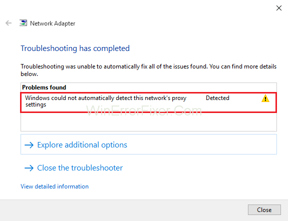 Windows Could Not Detect this Network's Proxy Settings
