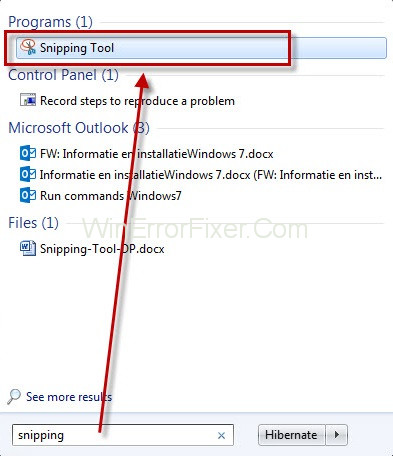 how to open snipping tool on windows 7