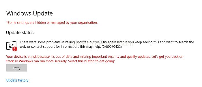 Windows 10 Update Error 0x80070422