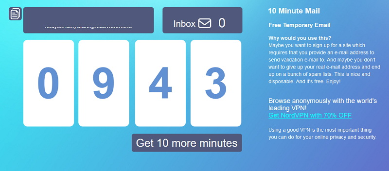 Alternatives to 10 Minute Mail