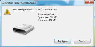 Destination Folder Access Denied in Windows 10