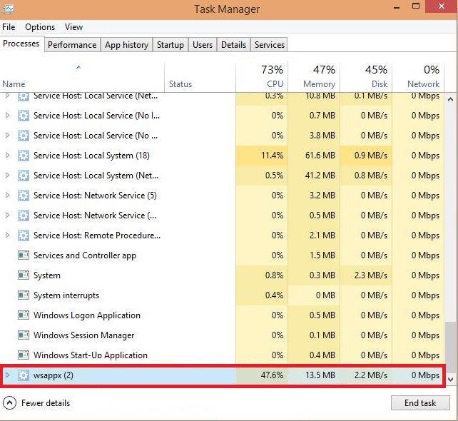 WSAPPX High CPU Usage
