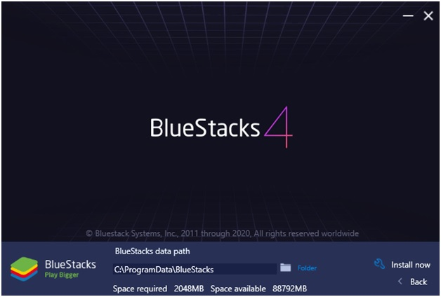 Change the install path for BlueStacks