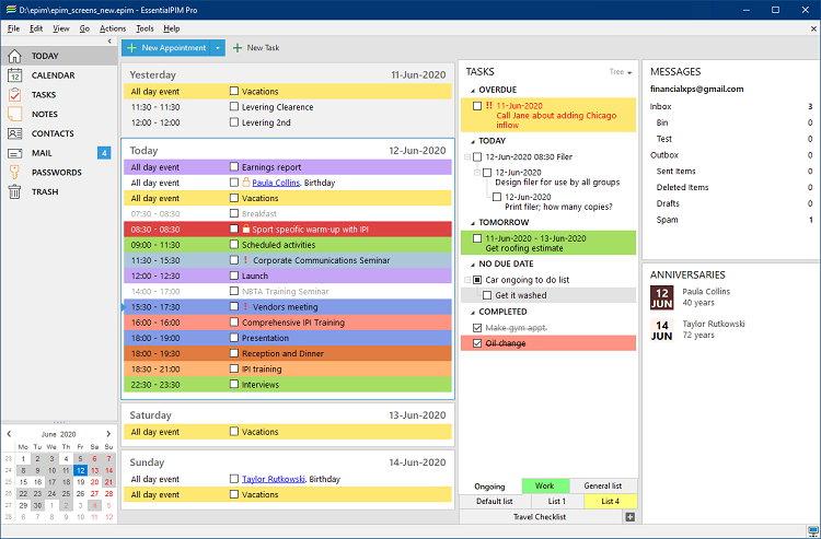 EssentialPIM User Interface
